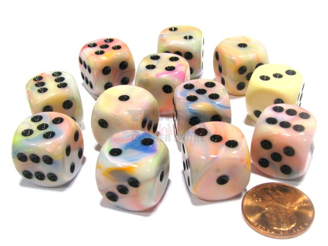 Bloque de 12 D6 Chessex Festive Circus/black 16mm