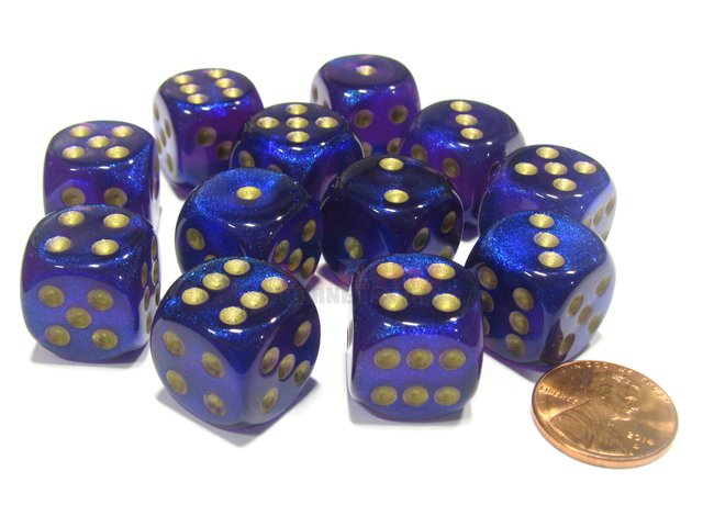 Bloque de 12 D6 Chessex Borealis Royal Purple/gold 16mm