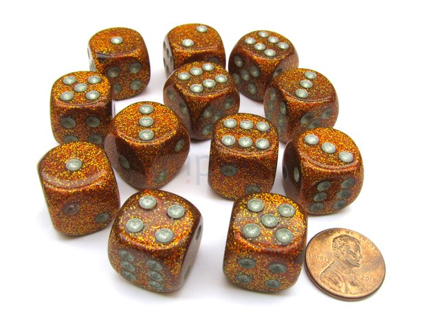 Bloque de 12 D6 Chessex Glitter Gold/silver 16mm