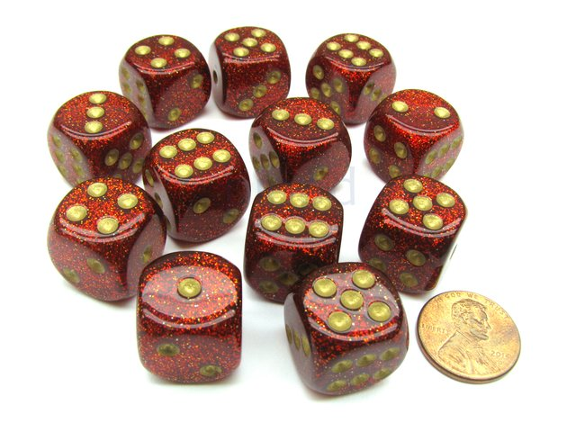 Bloque de 12 D6 Chessex Glitter Ruby/gold 16mm