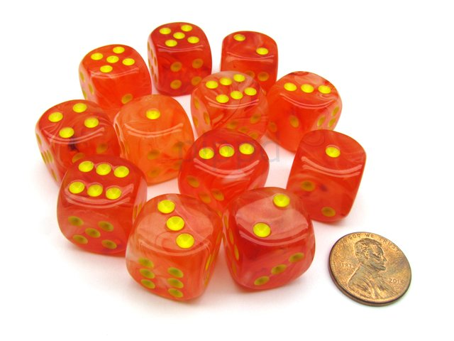 Bloque de 12 D6 Chessex Ghostly Glow Orange/yellow 16mm