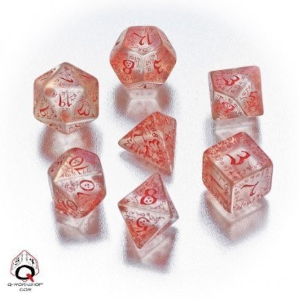 Set de 7 Dados Q-Workshop Elvish Translucent & Red en internet