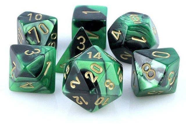 Set de 7 Dados Chessex Gemini Black-Green/gold