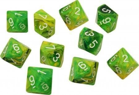 Set de 10 D10 Chessex Vortex Dandelion/white en internet