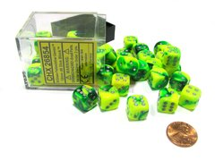 Bloque de 36 D6 Chessex Gemini Green-Yellow/silver 12mm