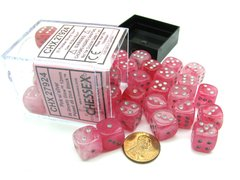 Bloque de 36 D6 Chessex Ghostly Glow Pink/silver 12mm