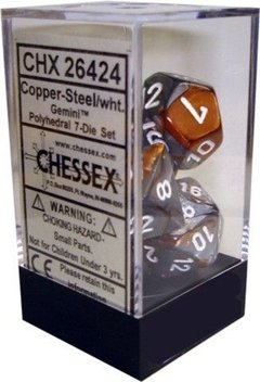 Set de 7 Dados Chessex Gemini Copper-Steel/White en internet
