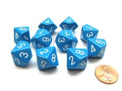 Set de 10 D10 Chessex Opaque Light Blue/white