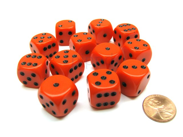 Bloque de 12 D6 Chessex Opaque Orange/black 16mm