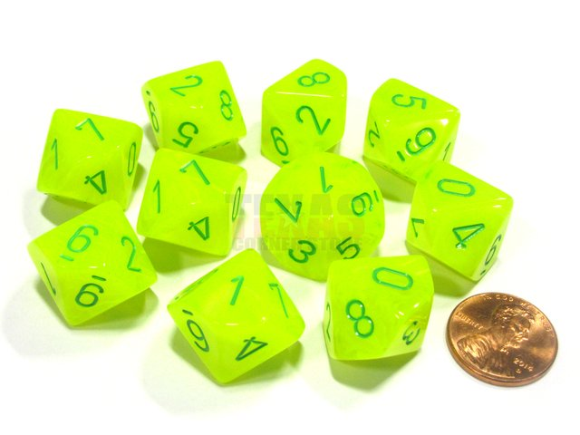Set de 10 D10 Chessex Vortex Electric Yellow/Green