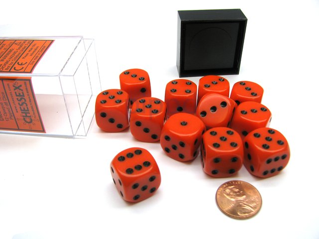 Bloque de 12 D6 Chessex Opaque Orange/black 16mm - EL OGRO ALEGRE