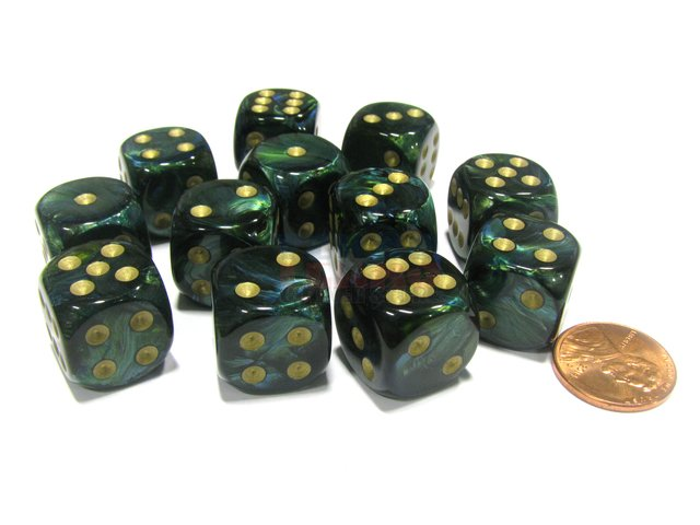Bloque de 12 D6 Chessex Scarab Jade/gold 16mm