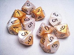 Set de 10 D10 Chessex Gemini Gold-White/black - comprar online