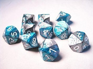 Set de 10 D10 Chessex Gemini Steel-Teal/white - comprar online