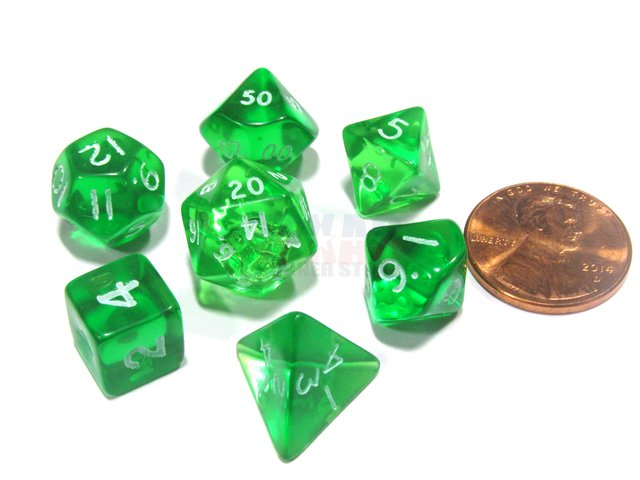 Set de 7 Dados Chessex Miniatura - Translucent Green with White - comprar online