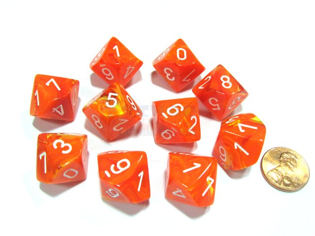 Set de 10 D10 Chessex Vortex Solar/white