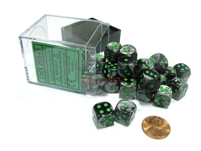 Bloque de 36 D6 Chessex Gemini Black-Grey/green 12mm