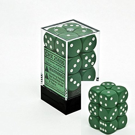 Bloque de 12 D6 Chessex Opaque Green/white 16mm en internet