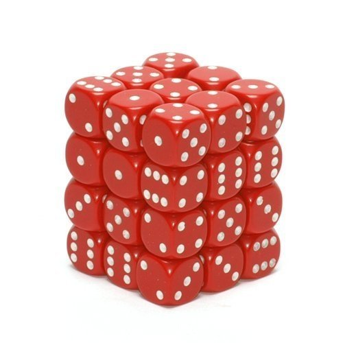 Bloque de 36 D6 Chessex Opaque Red/white 12mm - comprar online