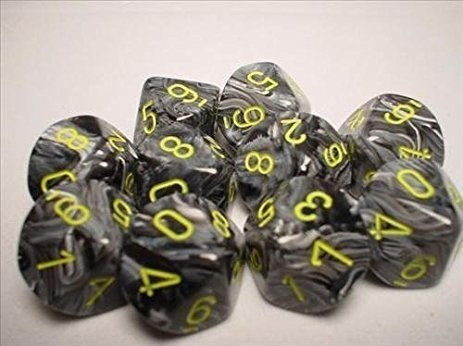 Set de 10 D10 Chessex Vortex Black/Yellow - comprar online