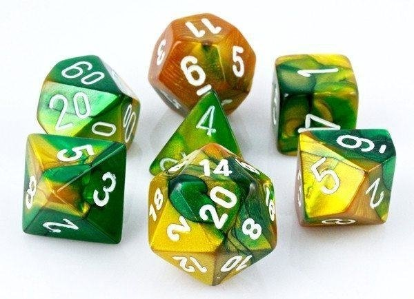 Set de 7 Dados Chessex Gemini Gold-Green/White