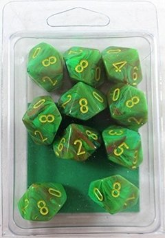 Set de 10 D10 Chessex Vortex Slime/Yellow - EL OGRO ALEGRE