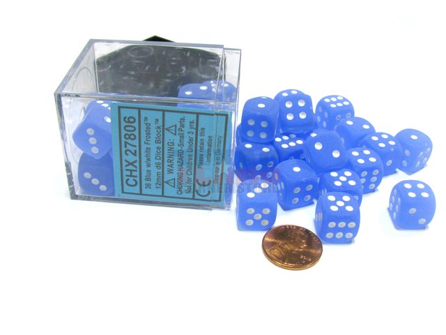 Bloque de 36 D6 Chessex Frosted Blue/white 12mm