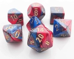 Set de 7 Dados Chessex Gemini Blue-Red/gold