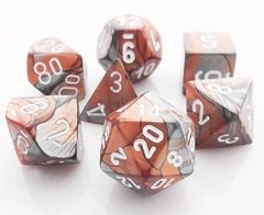 Set de 7 Dados Chessex Gemini Copper-Steel/White