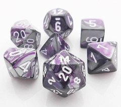 Set de 7 Dados Chessex Gemini Purple-Steel/White