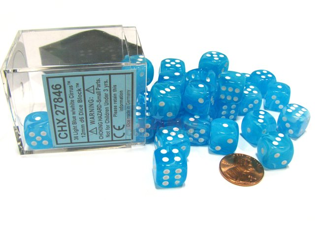 Bloque de 36 D6 Chessex Cirrus Light Blue/white 12mm