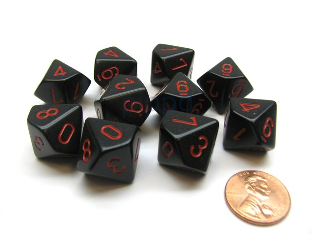 Set de 10 D10 Chessex Opaque Black/red