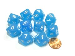 Set de 10 D10 Chessex Frosted Caribbean Blue/white