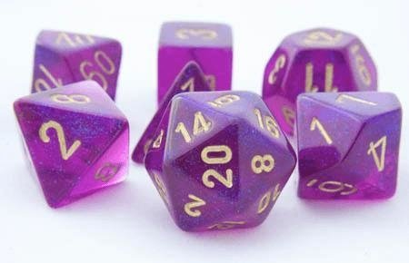 Set de 7 Dados Chessex Borealis Royal Purple/Gold