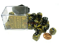 Bloque de 36 D6 Chessex Gemini Black-Gold/silver 12mm