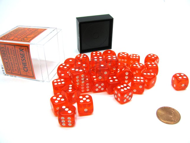 Bloque de 36 D6 Chessex Translucent Orange/white 12mm
