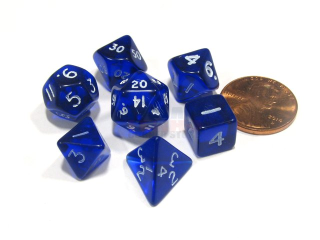 Set de 7 Dados Chessex Miniatura - Translucent blue with white - comprar online