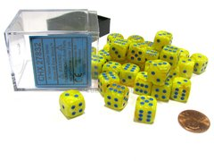Bloque de 36 D6 Chessex Vortex Yellow/blue Dice Block