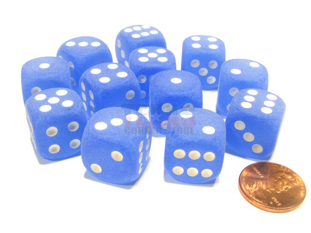 Bloque de 12 D6 Chessex Frosted Blue/white 16mm