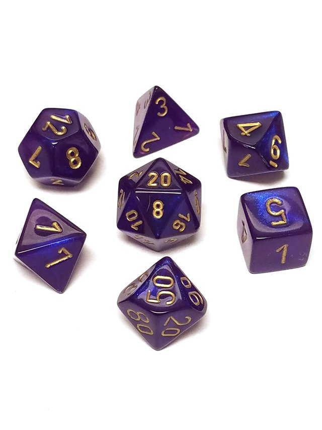 Set de 7 Dados Chessex Borealis Royal Purple/Gold - comprar online