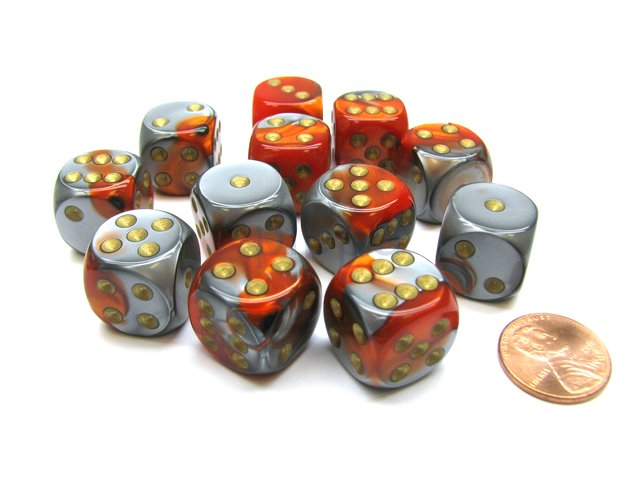 Bloque de 12 D6 Chessex Gemini Orange-Steel/gold 16mm