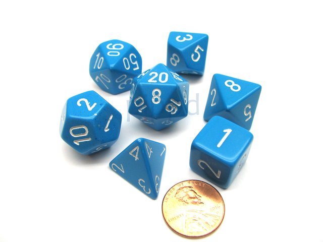 Set de 7 Dados Chessex Opaque Light Blue/white - comprar online