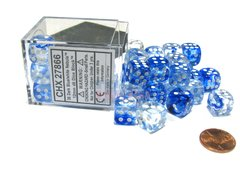 Bloque de 36 D6 Chessex Nebula Dark Blue/white 12mm