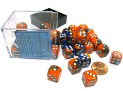 Bloque de 36 D6 Chessex Gemini Blue-Orange/white 12mm
