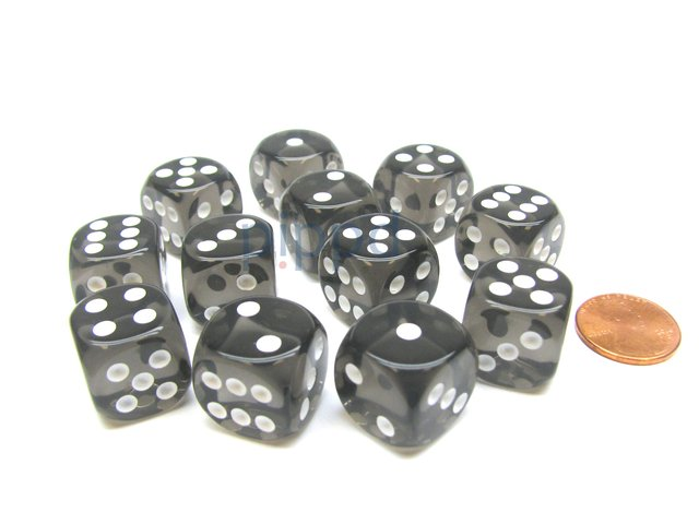 Bloque de 12 D6 Chessex Translucent Smoke/white 16mm  - comprar online