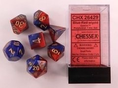 Set de 7 Dados Chessex Gemini Blue-Red/gold - tienda online