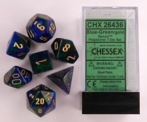 Set de 7 Dados Chessex Gemini Blue-Green/gold - EL OGRO ALEGRE