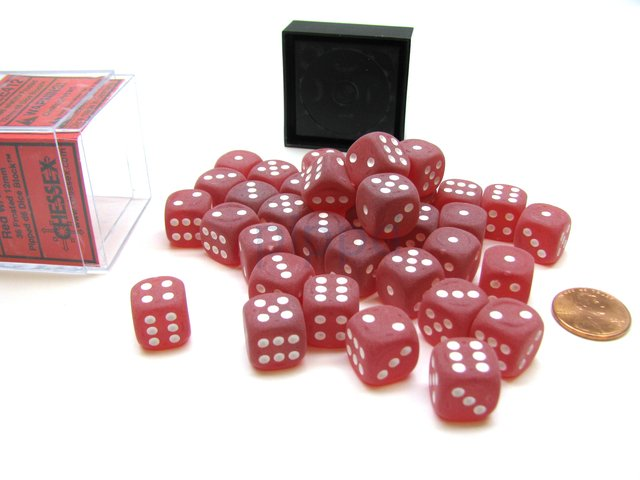 Bloque de 36 D6 Chessex Frosted Red/white 12mm