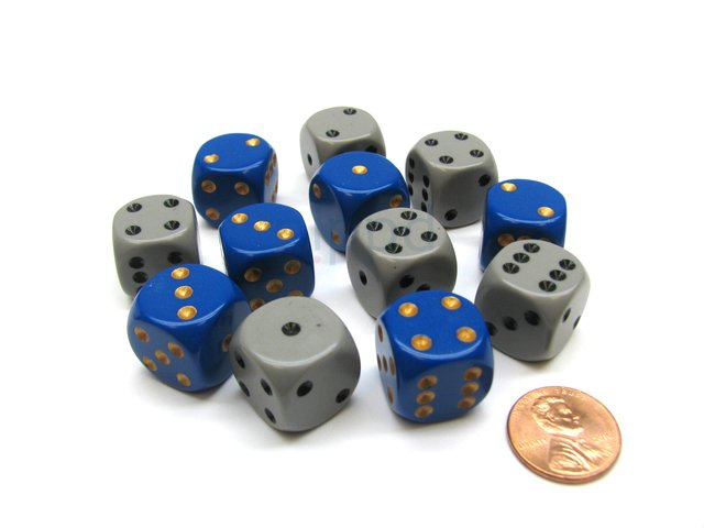 Bloque de 12 D6 Chessex Opaque Dixie Dice 16mm