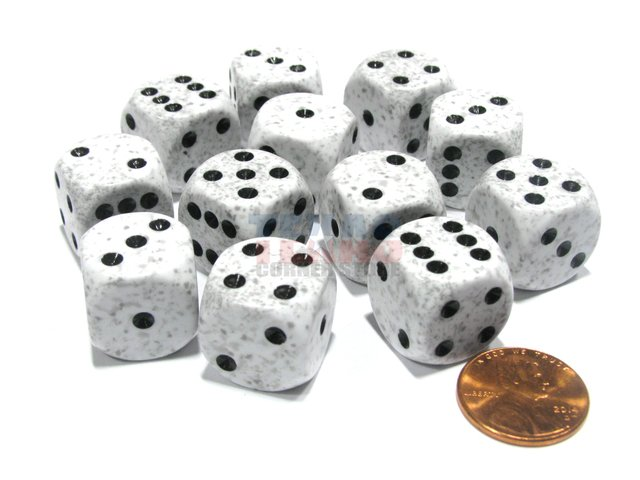Bloque de 12 D6 Chessex Speckled Arctic Camo 16mm